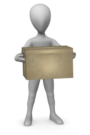 3d render of cartoon character with box    photo