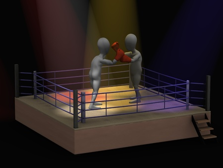 3d render of cartoon character boxing   photo