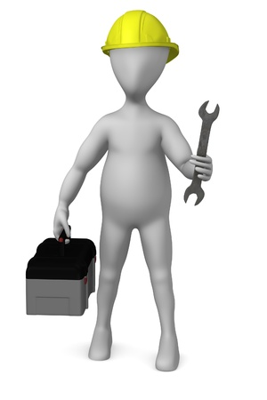 stockie: 3d render of cartoon character with toolbox