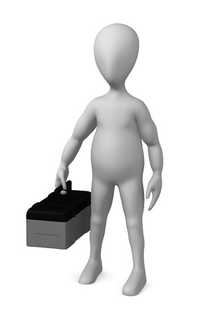 3d render of cartoon character with toolbox   photo
