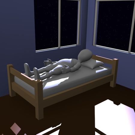3d render of cartoon character sleeping   photo