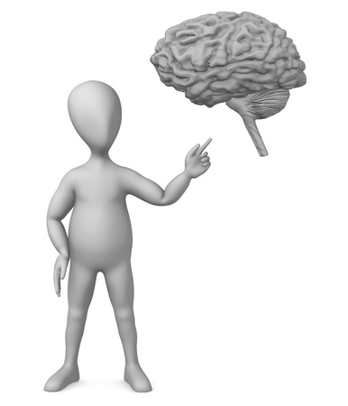 3d render of cartoon character  with brain