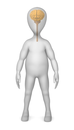 3d render of cartoon character  with brain photo
