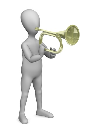 strains: 3d render of cartoon character with brass   Stock Photo