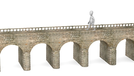footbridge: 3d render of cartoon character on bridge