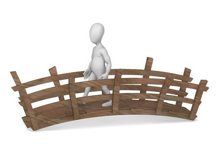 3d render of cartoon character on bridge