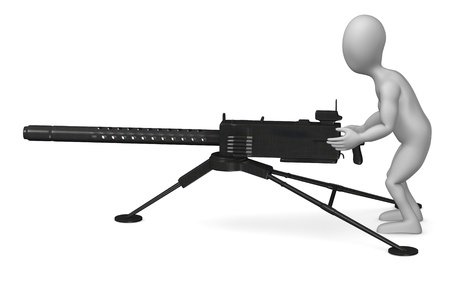 machine gun: 3d render of cartoon character with gun