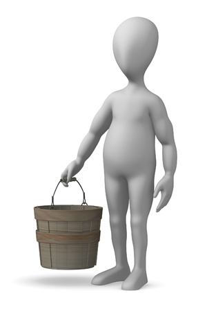 3d render of cartoon character with bucket photo