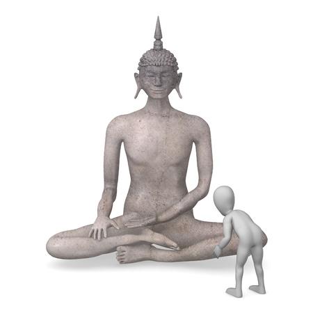 budha: 3d render of cartoon character with buddha Stock Photo