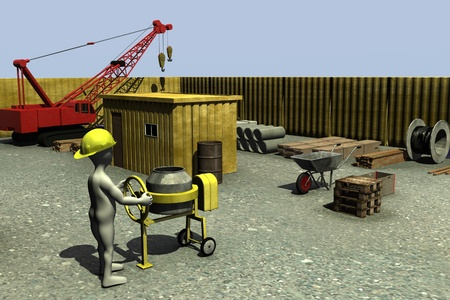 3d render of cartoon character on building site  photo