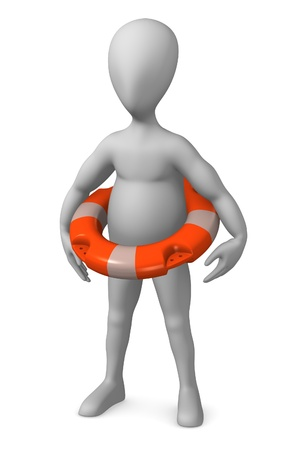 skimmer: 3d render of cartoon character with buoy Stock Photo