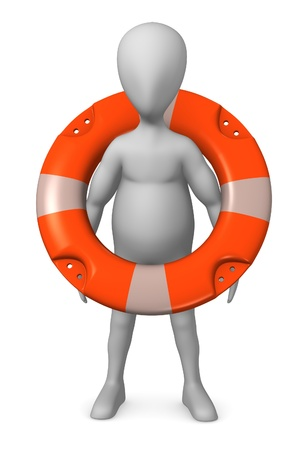 drown: 3d render of cartoon character with buoy Stock Photo