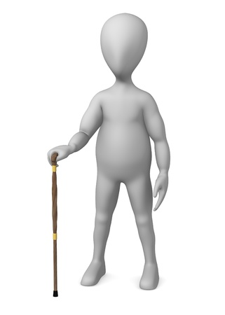 3d render of cartoon character with cane photo