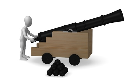 howitzer: 3d render of cartoon character with cannon