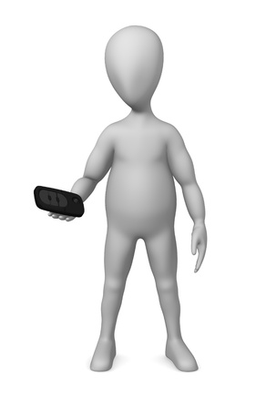 3d render of cartoon character with car key Stock Photo - 12920147