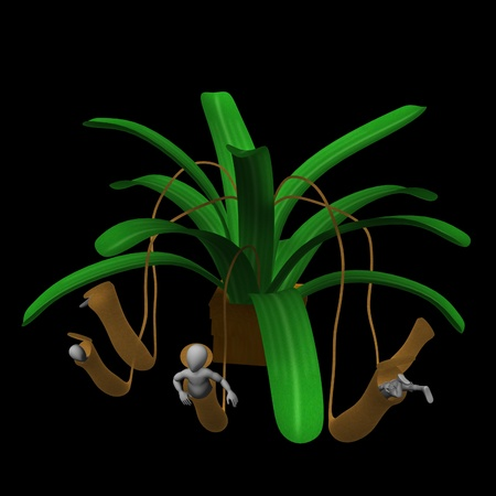 3d render of cartoon character with carnivorous plant photo