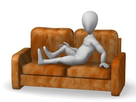 3d render of cartoon character with sofa Stock Photo - 12985571