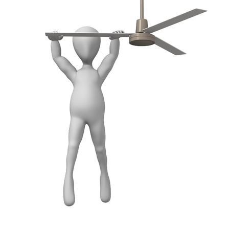 3d render of cartoon character with ceiling fan Stock Photo - 12919485