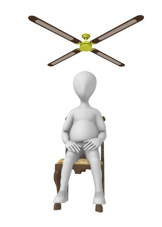 3d render of cartoon character with ceiling fan photo
