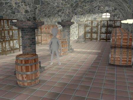 3d render of cartoon character in cellar photo