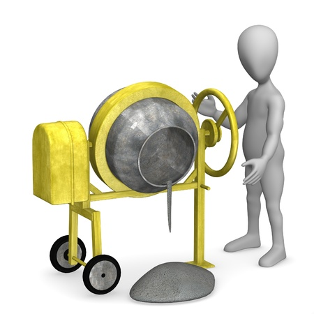 concrete mixer: 3d render of cartoon character with cement mixer  Stock Photo