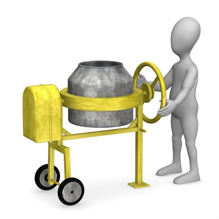 3d render of cartoon character with cement mixer  photo