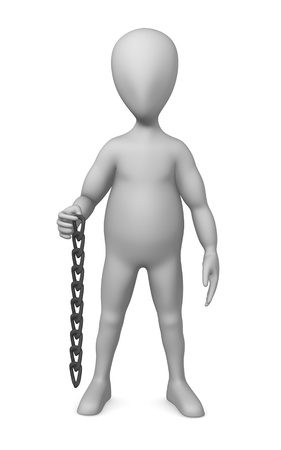 3d render of cartoon character with chain photo