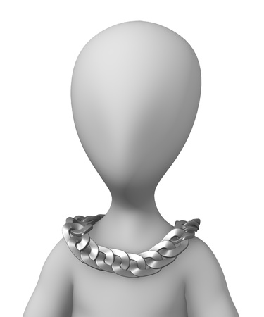 figourine: 3d render of cartoon character with chain