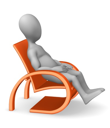 stockie: 3d render of cartoon character with chair