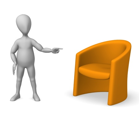3d render of cartoon character with chair  photo