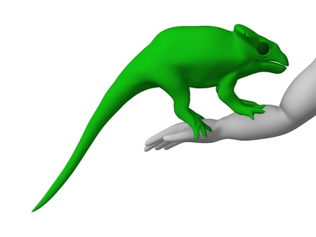 figourine: 3d render of cartoon character with chameleon
