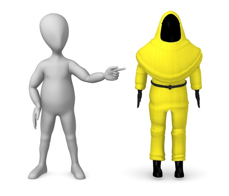 3d render of cartoon character with chemical suit photo