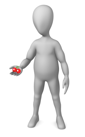 figourine: 3d render of cartoon character with cherry Stock Photo