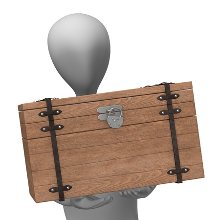 burried: 3d render of cartoon character with chest