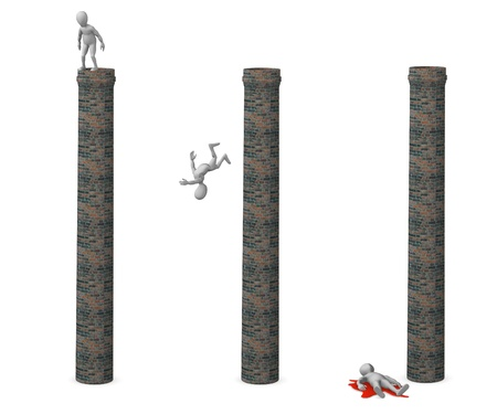 suicidal: 3d render of cartoon character with chimney (suicidal character)