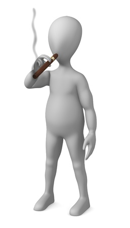 3d render of smoking cartoon character  photo