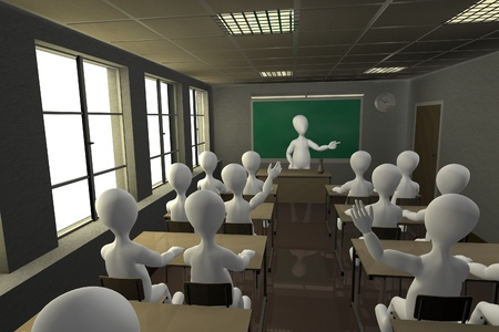 3d render of cartoon character in school photo