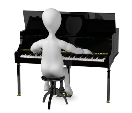 3d render of cartoon character playing on piano  Stock Photo - 12959339