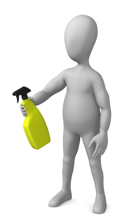 cleaning kitchen: 3d render of cartoon character with cleaner Stock Photo