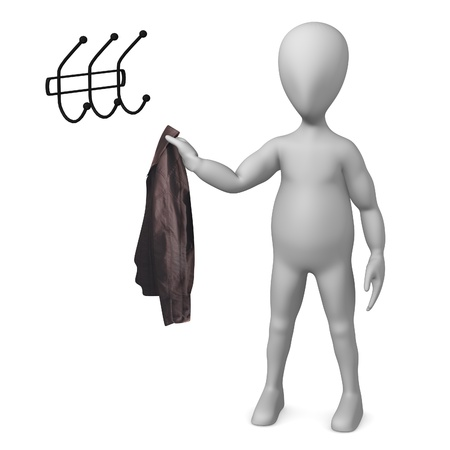 clothes rail: 3d render of cartoon character with coat and rack  Stock Photo