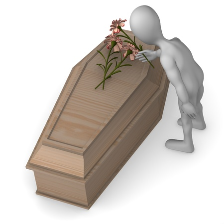 burial: 3d render of cartoon character with coffin Stock Photo