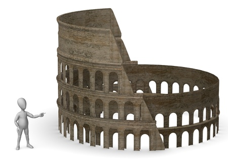 antic: 3d render of cartoon character with coloseum Stock Photo