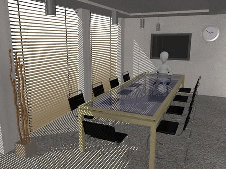 boardroom meeting: 3d render of cartoon character in conference room