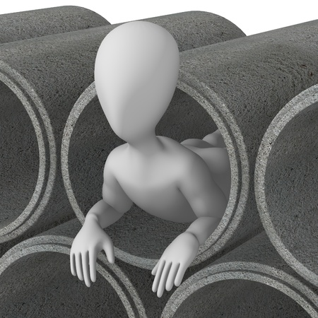 3d render of cartoon character with concrete pipes photo
