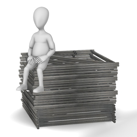 3d render of cartoon character with construction elements photo