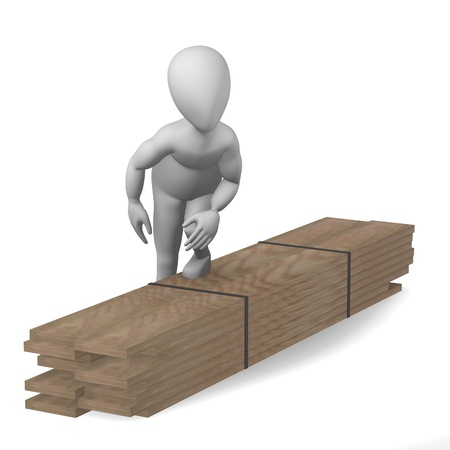 rafter: 3d render of cartoon character with wood