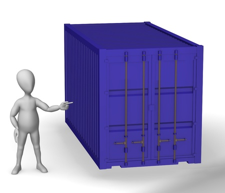 3d render of cartoon character and container  photo