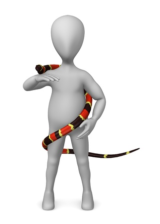 coral snake: 3d render of cartoon character with snake