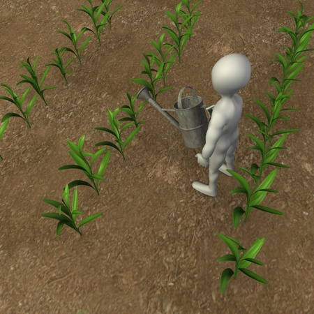 corn stalk: 3d render of cartoon character with corn