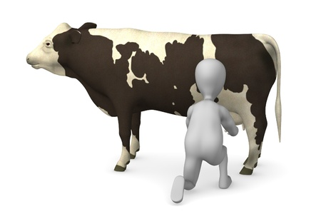 3d render of cartoon character with cow photo